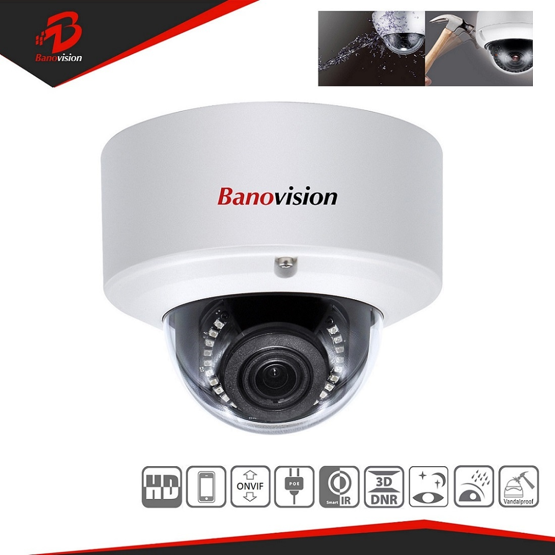 Super HD 8MP IP Dome Camera with Varifocal Lens